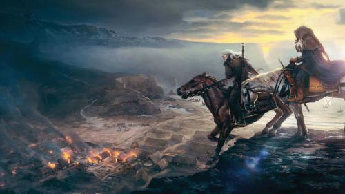 Geralt and Ciri, on horseback.