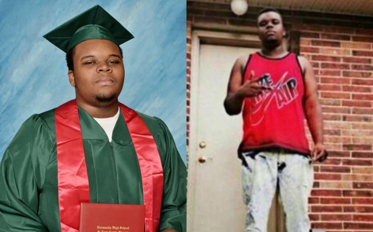 Two photos of Michael Brown from the digital campaign #IfTheyGunnedMeDown, a contestation of the media's framing of blacks as thugs, always-already deserving of death.