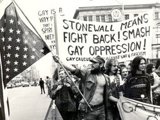 Radical queer activists taking to the streets after the Stonewall riots.